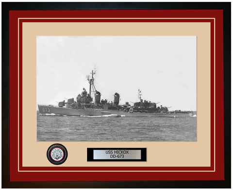USS HICKOX DD-673 Framed Navy Ship Photo Burgundy