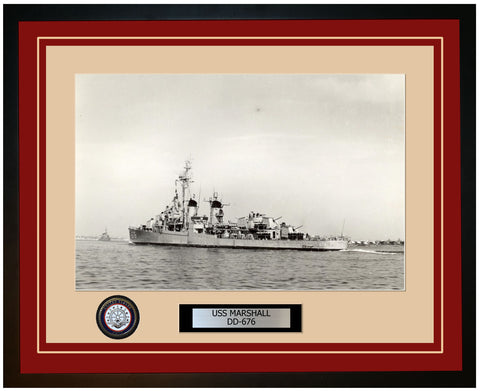 USS MARSHALL DD-676 Framed Navy Ship Photo Burgundy