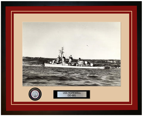 USS HOPEWELL DD-681 Framed Navy Ship Photo Burgundy