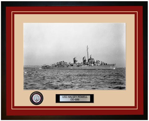 USS HALSEY POWELL DD-686 Framed Navy Ship Photo Burgundy