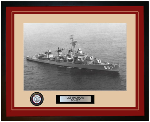 USS UHLMANN DD-687 Framed Navy Ship Photo Burgundy