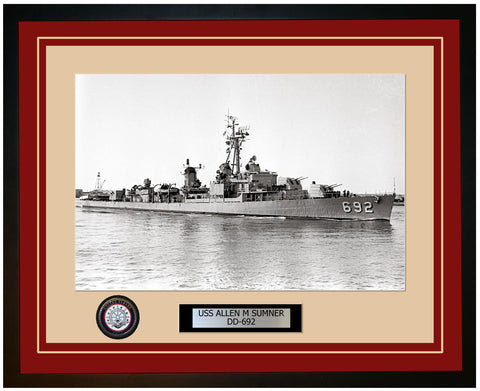 USS ALLEN M SUMNER DD-692 Framed Navy Ship Photo Burgundy
