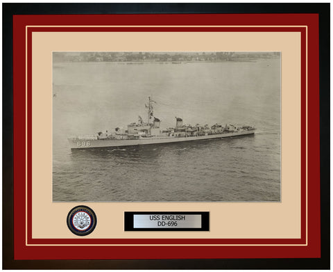 USS ENGLISH DD-696 Framed Navy Ship Photo Burgundy