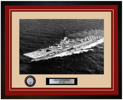 USS KEARSARGE CV-33 Framed Navy Ship Photo Burgundy