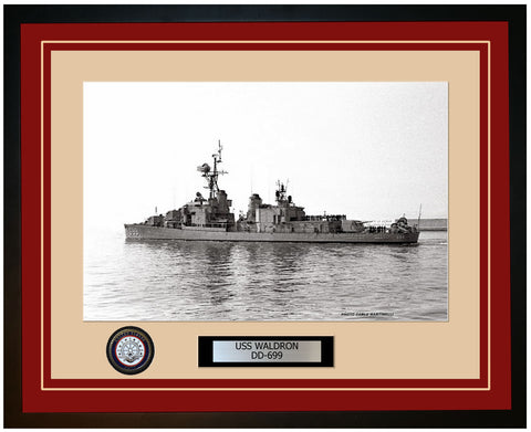 USS WALDRON DD-699 Framed Navy Ship Photo Burgundy