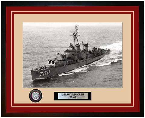 USS HAYNSWORTH DD-700 Framed Navy Ship Photo Burgundy