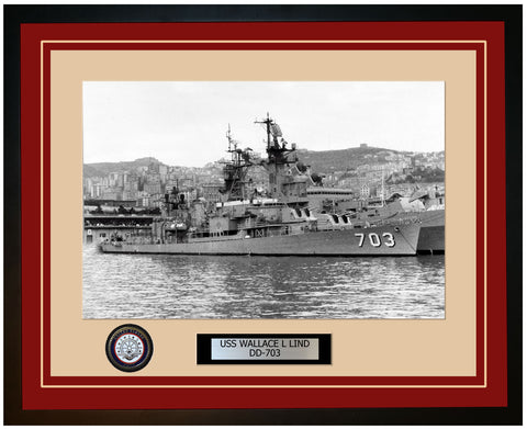 USS WALLACE L LIND DD-703 Framed Navy Ship Photo Burgundy