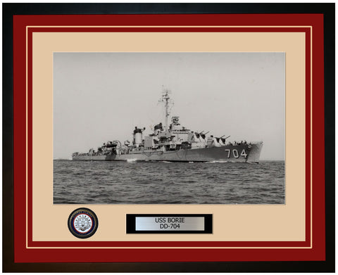 USS BORIE DD-704 Framed Navy Ship Photo Burgundy