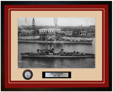 USS GAINARD DD-706 Framed Navy Ship Photo Burgundy