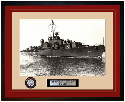 USS HARLAN R DICKSON DD-708 Framed Navy Ship Photo Burgundy