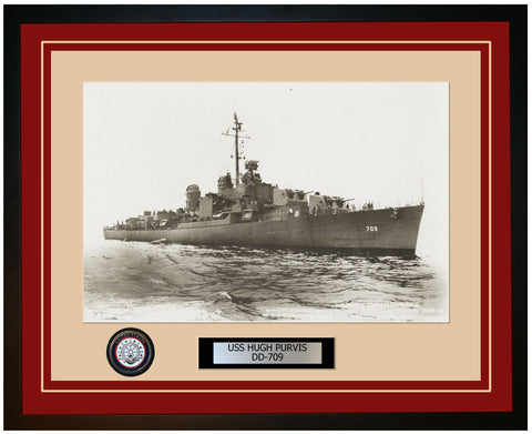 USS HUGH PURVIS DD-709 Framed Navy Ship Photo Burgundy