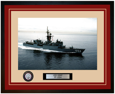 USS GRAY FF-1054 Framed Navy Ship Photo Burgundy