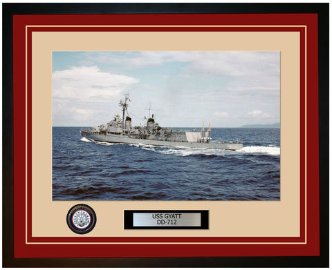 USS GYATT DD-712 Framed Navy Ship Photo Burgundy