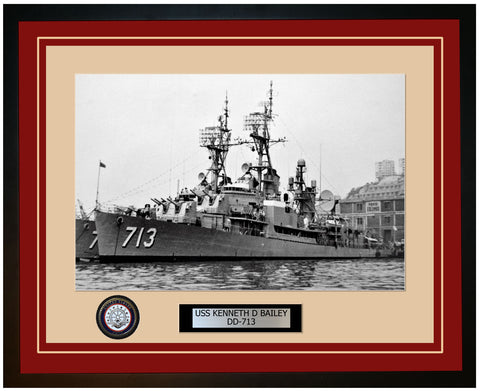 USS KENNETH D BAILEY DD-713 Framed Navy Ship Photo Burgundy