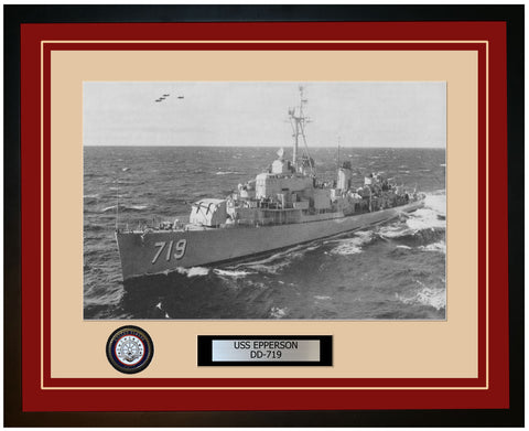 USS EPPERSON DD-719 Framed Navy Ship Photo Burgundy
