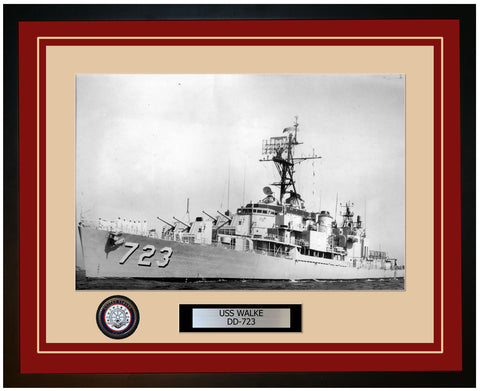 USS WALKE DD-723 Framed Navy Ship Photo Burgundy