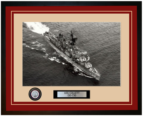 USS COLLETT DD-730 Framed Navy Ship Photo Burgundy