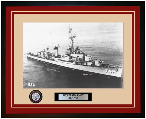 USS FRANK KNOX DD-742 Framed Navy Ship Photo Burgundy
