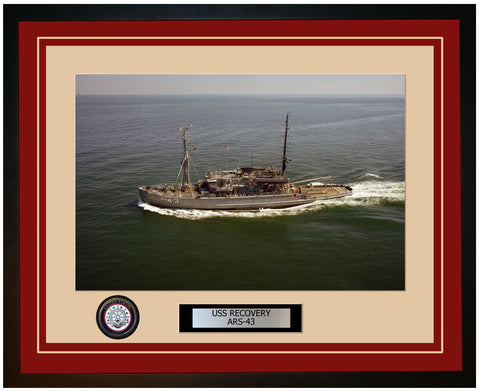 USS RECOVERY ARS-43 Framed Navy Ship Photo Burgundy