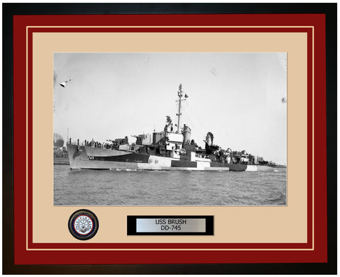 USS BRUSH DD-745 Framed Navy Ship Photo Burgundy