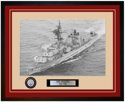 USS TAUSSIG DD-746 Framed Navy Ship Photo Burgundy