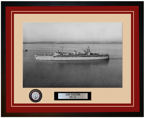 USS FULTON AS-11 Framed Navy Ship Photo Burgundy