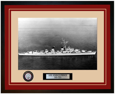 USS JOHN R PIERCE DD-753 Framed Navy Ship Photo Burgundy