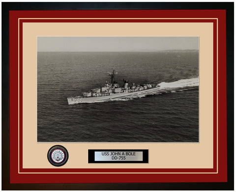 USS JOHN A BOLE DD-755 Framed Navy Ship Photo Burgundy