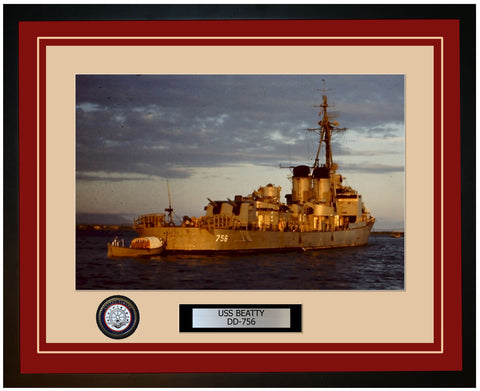 USS BEATTY DD-756 Framed Navy Ship Photo Burgundy