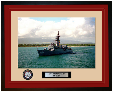 USS MEYERKORD FF-1058 Framed Navy Ship Photo Burgundy
