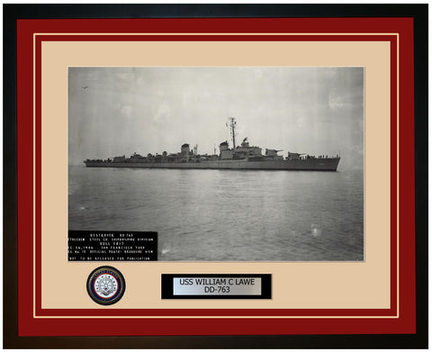USS WILLIAM C LAWE DD-763 Framed Navy Ship Photo Burgundy