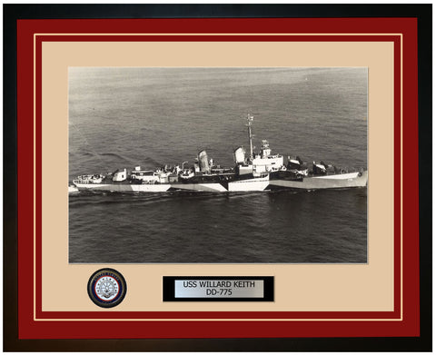 USS WILLARD KEITH DD-775 Framed Navy Ship Photo Burgundy