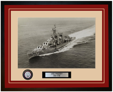 USS MASSEY DD-778 Framed Navy Ship Photo Burgundy