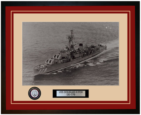 USS DOUGLAS H FOX DD-779 Framed Navy Ship Photo Burgundy