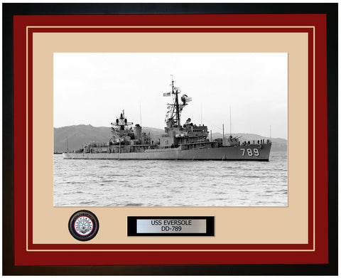 USS EVERSOLE DD-789 Framed Navy Ship Photo Burgundy
