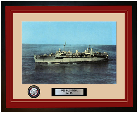 USS BUSHNELL AS-15 Framed Navy Ship Photo Burgundy