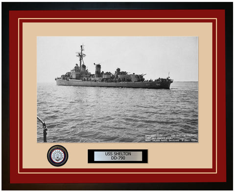 USS SHELTON DD-790 Framed Navy Ship Photo Burgundy