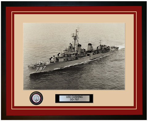 USS CUSHING DD-797 Framed Navy Ship Photo Burgundy