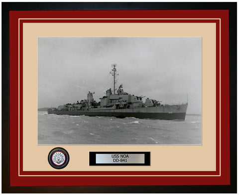 USS NOA DD-841 Framed Navy Ship Photo Burgundy