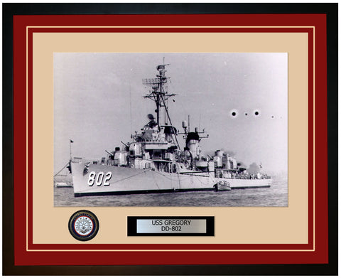 USS GREGORY DD-802 Framed Navy Ship Photo Burgundy