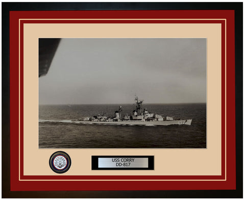 USS CORRY DD-817 Framed Navy Ship Photo Burgundy