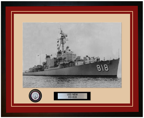 USS NEW DD-818 Framed Navy Ship Photo Burgundy