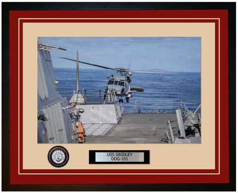 USS GRIDLEY DDG-101 Framed Navy Ship Photo Burgundy