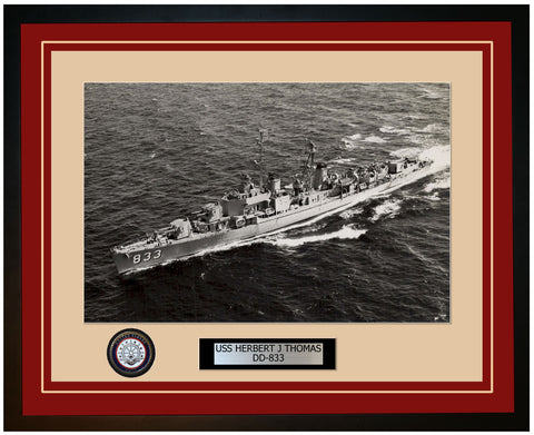 USS HERBERT J THOMAS DD-833 Framed Navy Ship Photo Burgundy