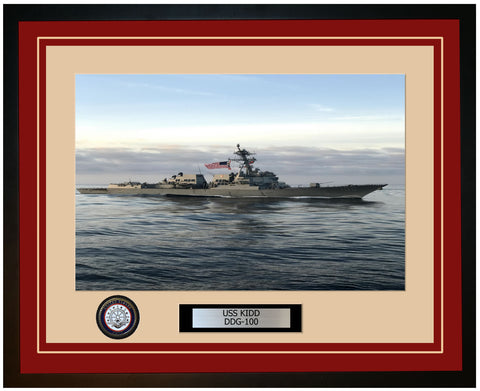 USS KIDD DDG-100 Framed Navy Ship Photo Burgundy