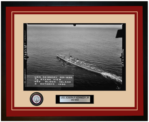 USS JOSEPH P KENNEDY JR DD-850 Framed Navy Ship Photo Burgundy