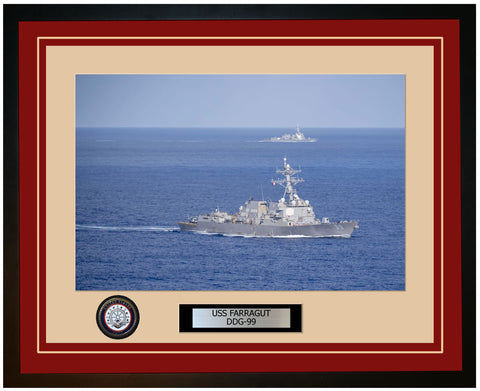 USS FARRAGUT DDG-99 Framed Navy Ship Photo Burgundy