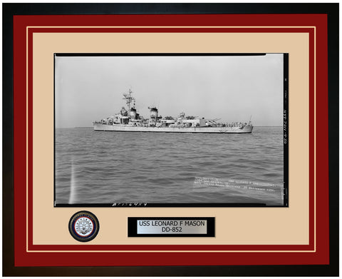 USS LEONARD F MASON DD-852 Framed Navy Ship Photo Burgundy