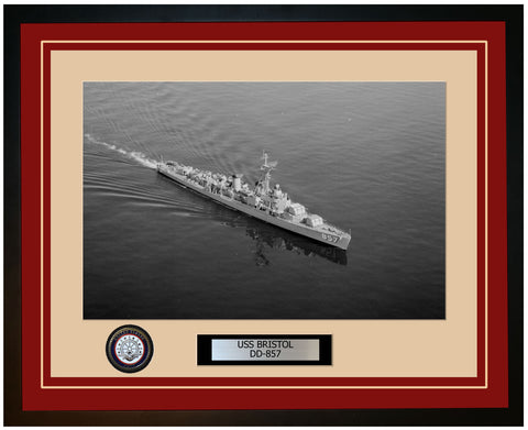 USS BRISTOL DD-857 Framed Navy Ship Photo Burgundy