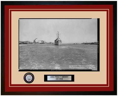 USS FRED T BERRY DD-858 Framed Navy Ship Photo Burgundy
